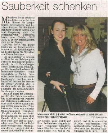 beClean in der Norderstedter Zeitung
